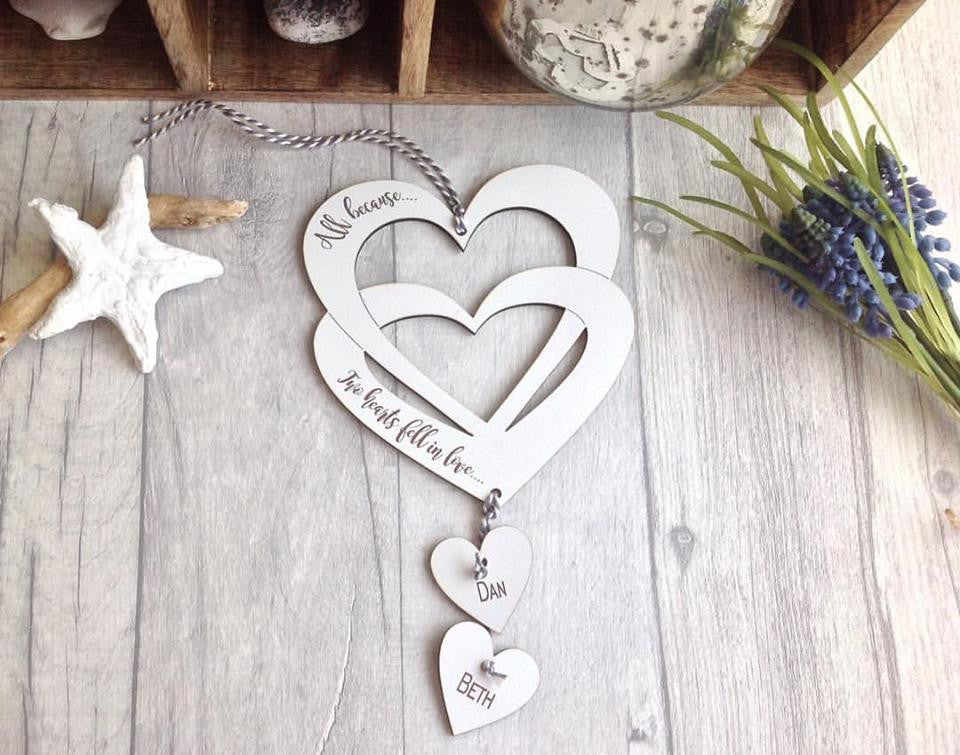 Double heart  with two hanging hearts- laser cut and laser engraved - Fred And Bo
