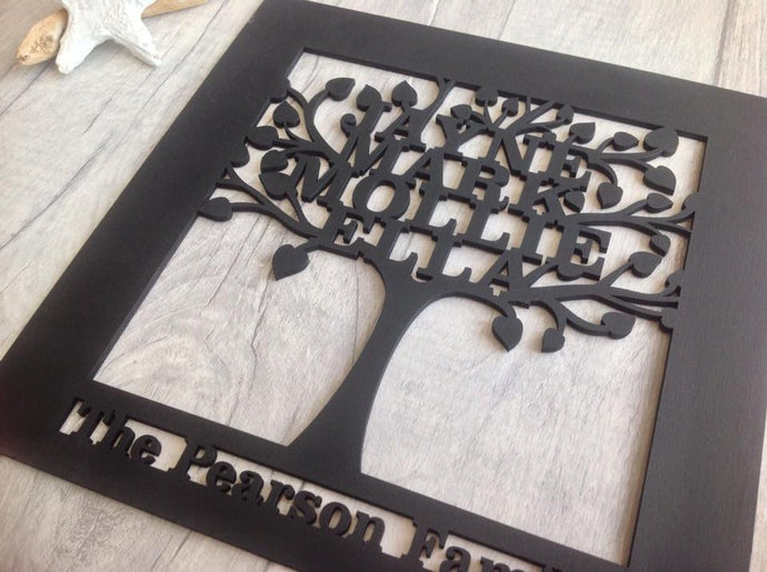 Family tree laser cut - personalised family gift - Fred And Bo