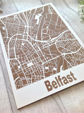 Map Art - Belfast city centre laser engraved wooden map - Fred And Bo