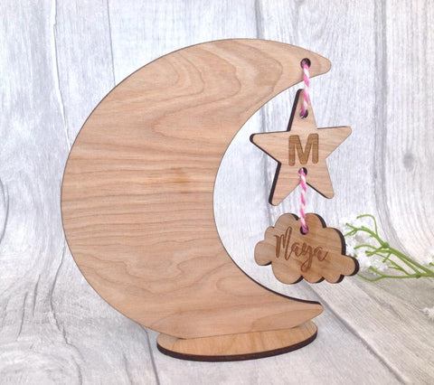 Baby moon star & Cloud - New baby personalised gift - Fred And Bo