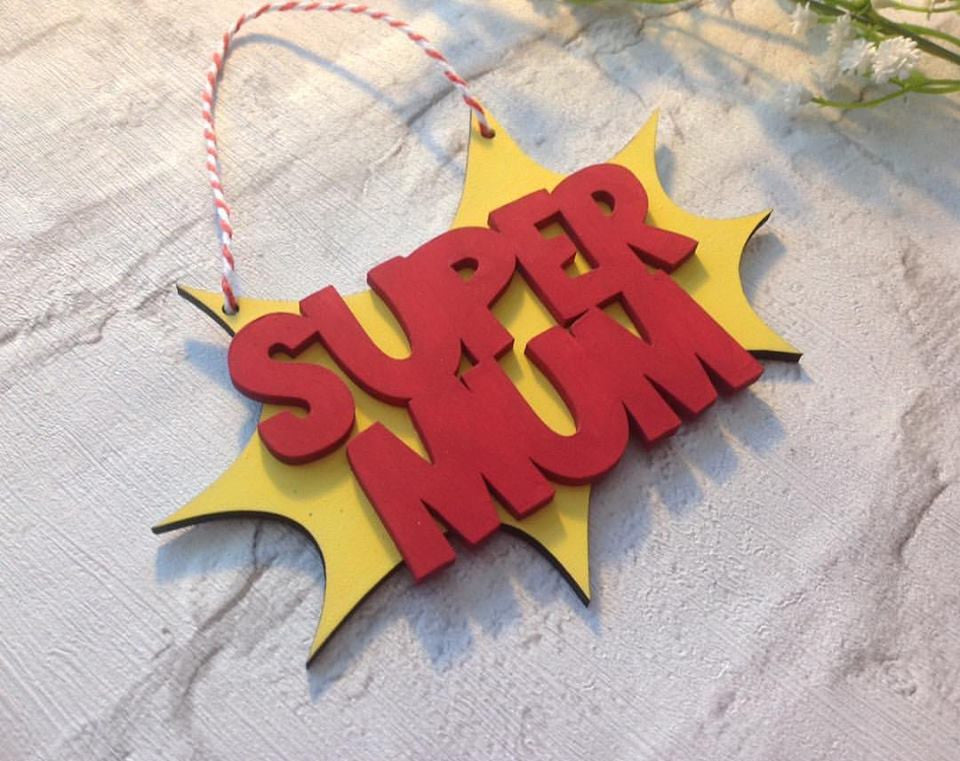 Super Mum hand painted plaque - Fred And Bo
