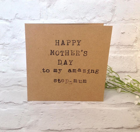 "Hand stamped card ""Happy mother's day to my amazing step mum"" Mother's day card - Fred And Bo"