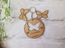 Personalised Butterfly key ring with butterfly charm- Plywood - Fred And Bo
