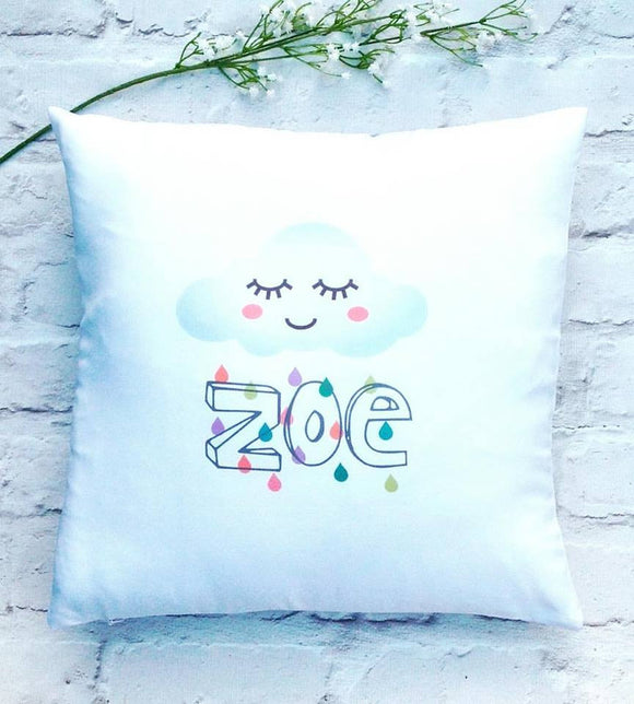 Baby cute rain cloud cushion cover - personalised - Fred And Bo
