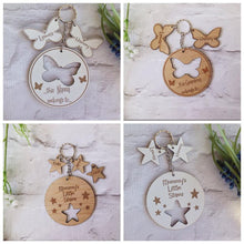 Personalised Star key ring with Star charm- Plywood - Fred And Bo