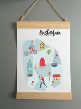 Wall Poster A4 Wooden Hanging Frame - Map of Amsterdam