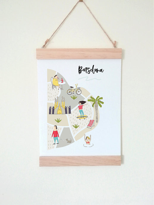 Wall Poster A4 Wooden Hanging Frame - Map of Barcelona