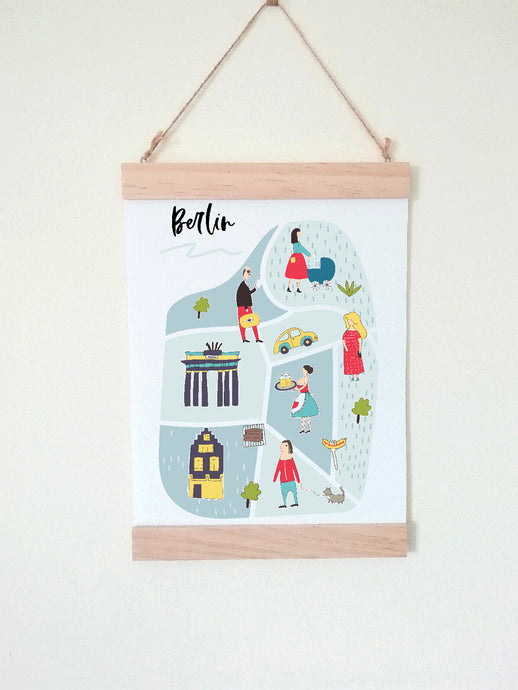 Wall Poster A4 Wooden Hanging Frame - Map of Berlin