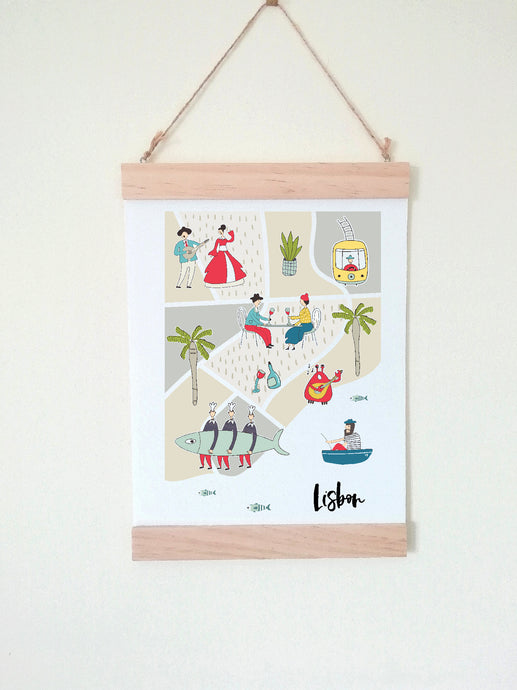 Wall Poster A4 Wooden Hanging Frame - Map of Lisbon