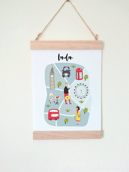 Wall Poster A4 Wooden Hanging Frame - Map of London