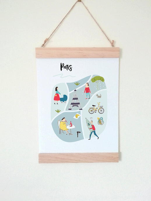 Wall Poster A4 Wooden Hanging Frame - Map of Paris