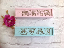 Wood pencil box / case - personalised painted pencil case - Fred And Bo