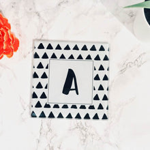 Scandi Doodle Triangle Initial- printed glass coaster