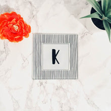 Scandi Doodle Stripe Initial- printed glass coaster - Fred And Bo