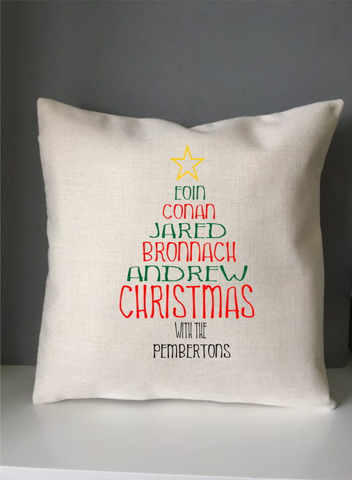Christmas Tree Colour Family Names cushion pillow - personalised - Fred And Bo
