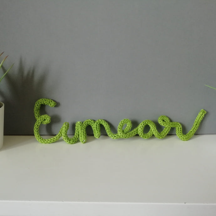 Personalised Name Knitted Wire Word Handwritten Wall Art - Fred And Bo