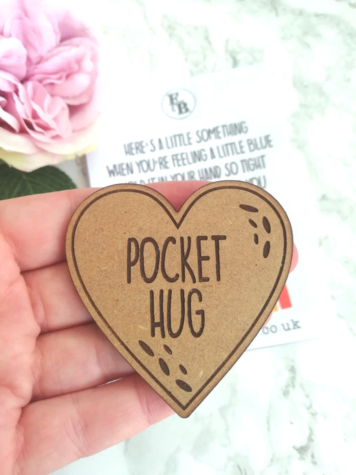 Pocket Hug - MDF heart on a card - Fred And Bo
