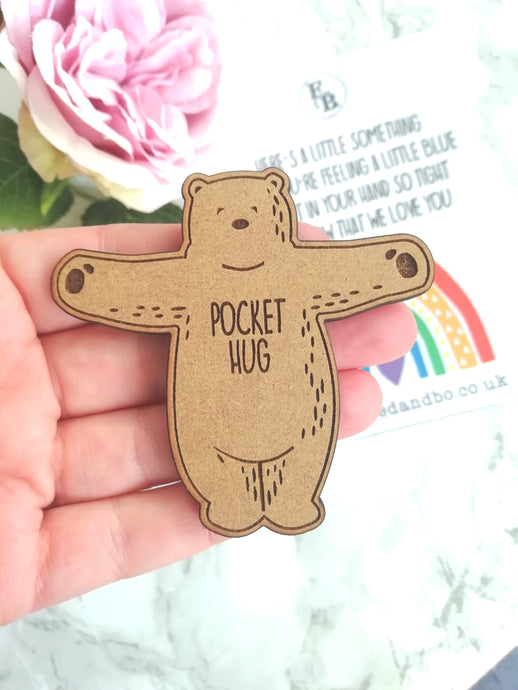 Pocket Hug - Brown bear on a card - Fred And Bo