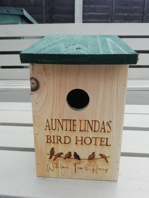 Wild Bird Nesting Box - Personalised Bird Hotel Nesting Box