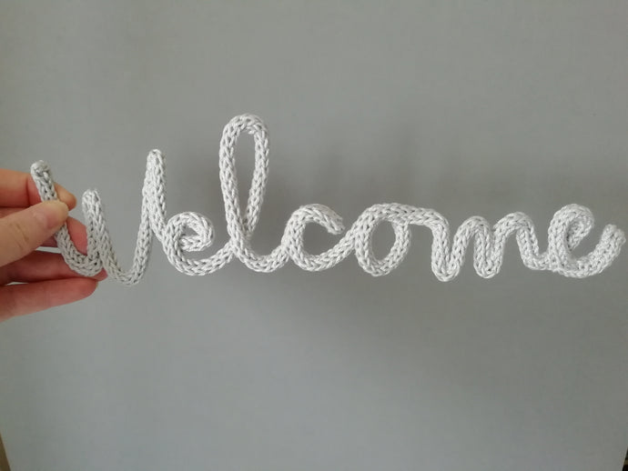 Welcome Knitted Wire Word Handwritten Wall Art