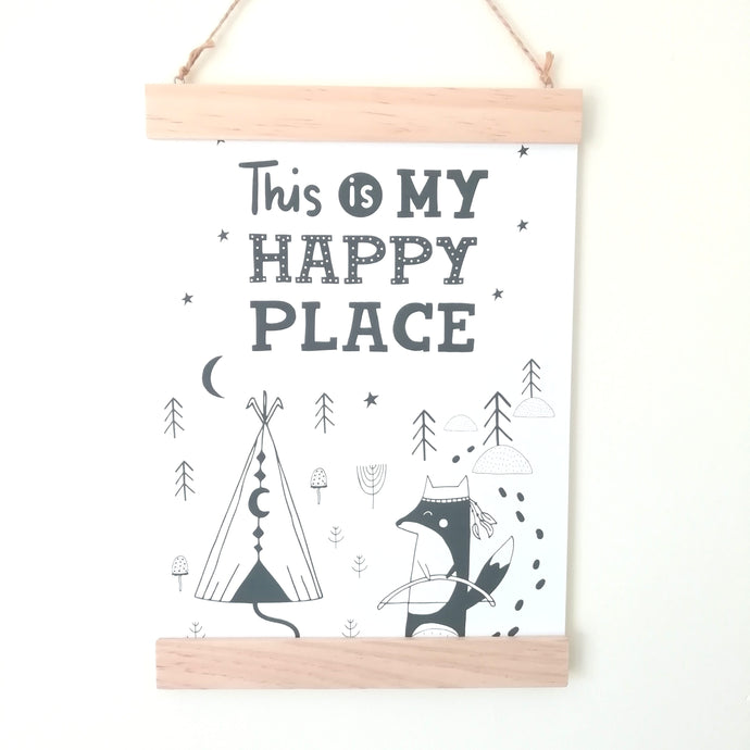 Wall Poster A4 Wooden Hanging Frame - This Is My Happy Place