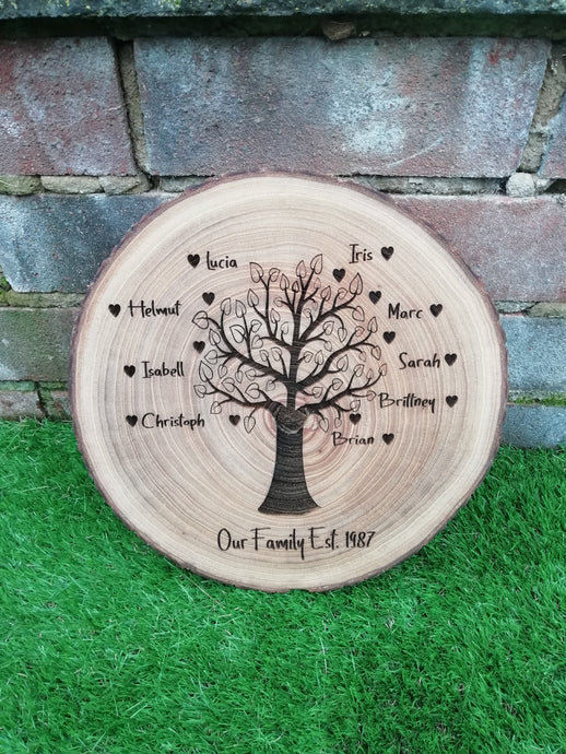 Family tree wood slice- engraved log slice- personalised family gift