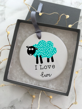 I Love EWE - Sheep - Ceramic hanging bauble - Fred And Bo