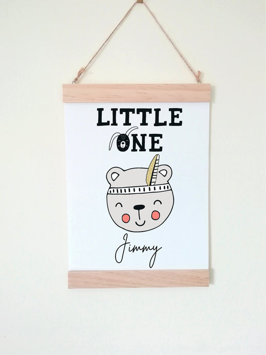 Wall Poster A4 Wooden Hanging Frame - Little One