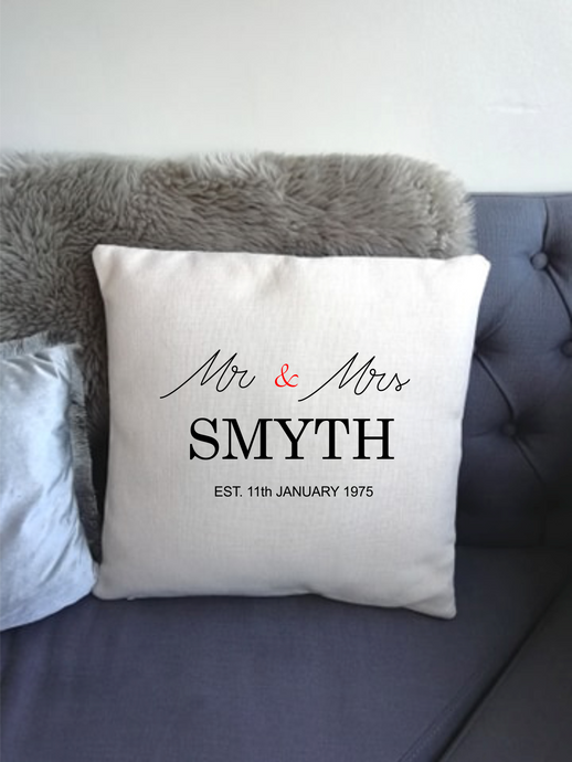 Wedding Anniversary Mr & Mrs Personalised Cushion
