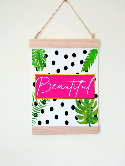 Wall Poster A4 Wooden Hanging Frame - Beautiful Tropical Leaf