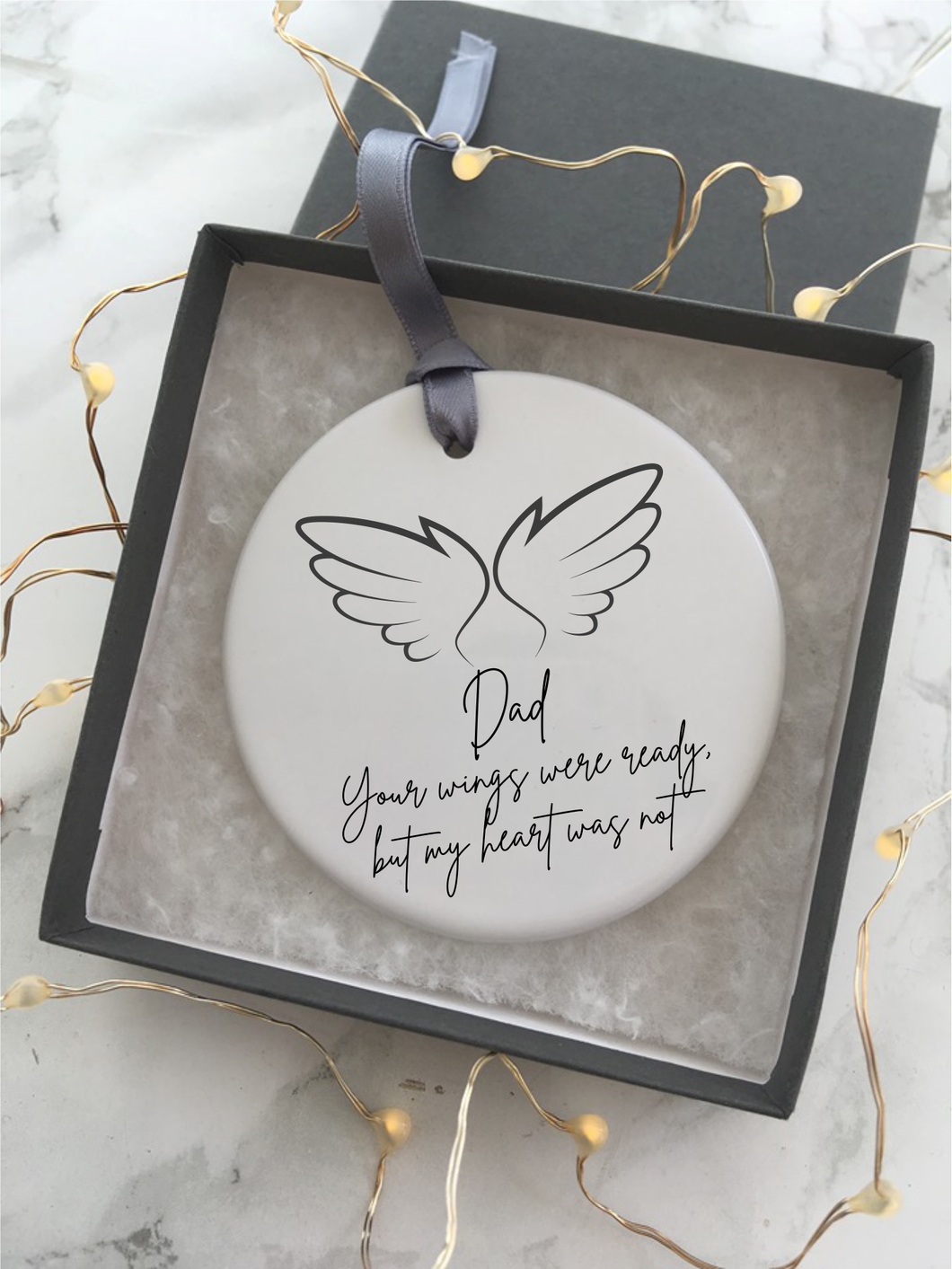 Your wings were ready but my heart was not- Dad - Angel wings- feather - memory- Ceramic Hanging Decoration - Fred And Bo