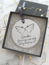 Your wings were ready but my heart was not- Grandma - Angel wings- feather - memory- Ceramic Hanging Decoration - Fred And Bo
