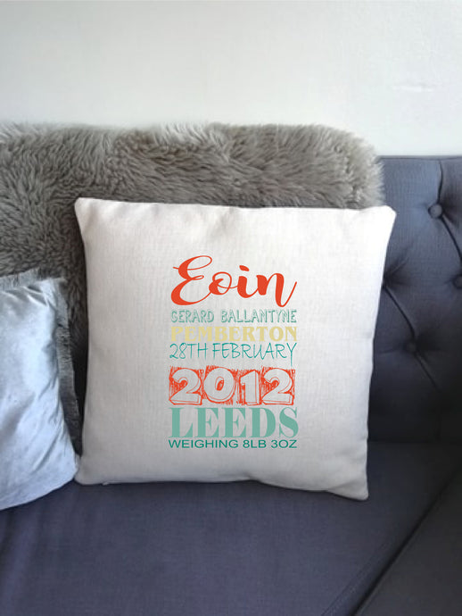 Baby Announcement Personalised printed cushion Teal Terrecotta