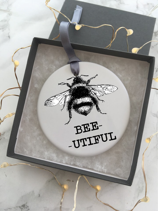 Ceramic Bauble BEE UTIFUL Hanging Decoration - Fred And Bo