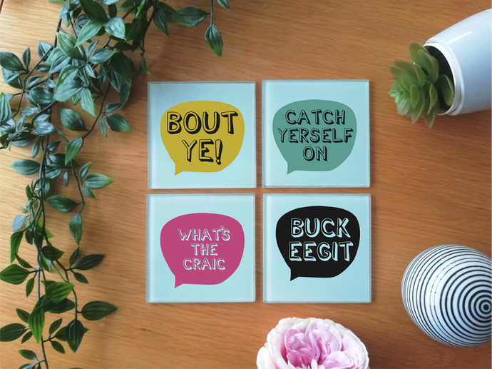 Belfast Slang - Glass Coaster- set of 4
