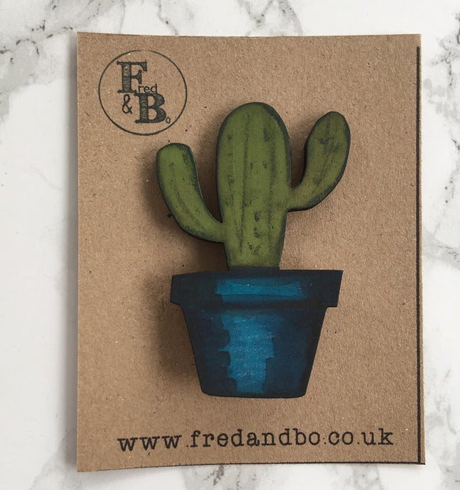 Cactus 2 - Laser cut hand painted wooden badge - Fred And Bo