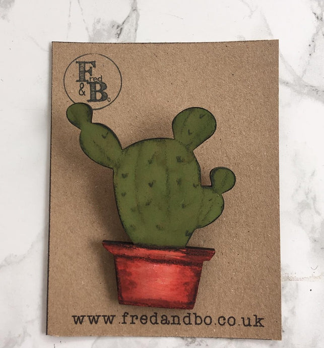 Cactus 3 - Laser cut hand painted wooden badge - Fred And Bo