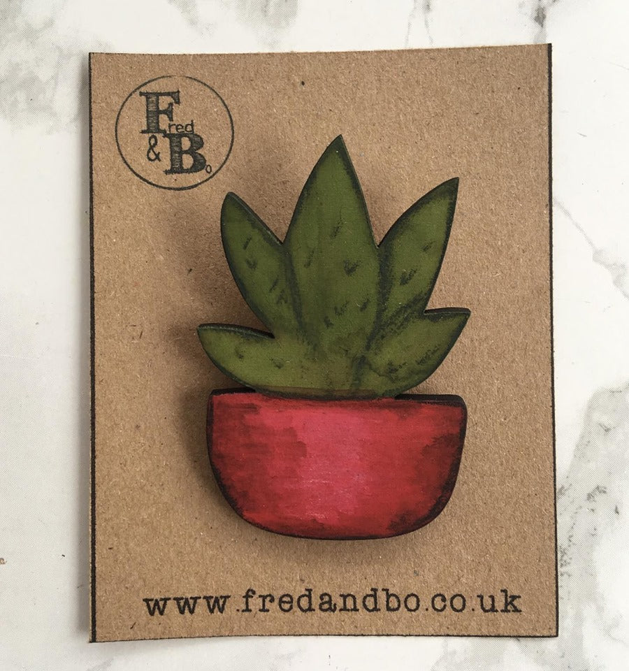 Cactus 4 - Laser cut hand painted wooden badge - Fred And Bo