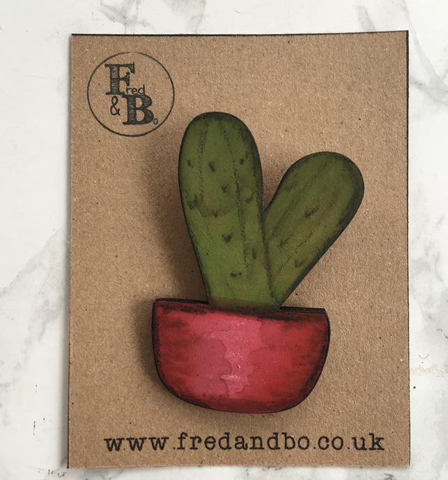 Cactus 5 - Laser cut hand painted wooden badge - Fred And Bo