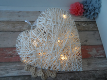 White heart rattan style medium with fairy lights - Fred And Bo