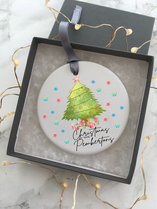 Ceramic Christmas Personalised Hanging Decoration - Fred And Bo