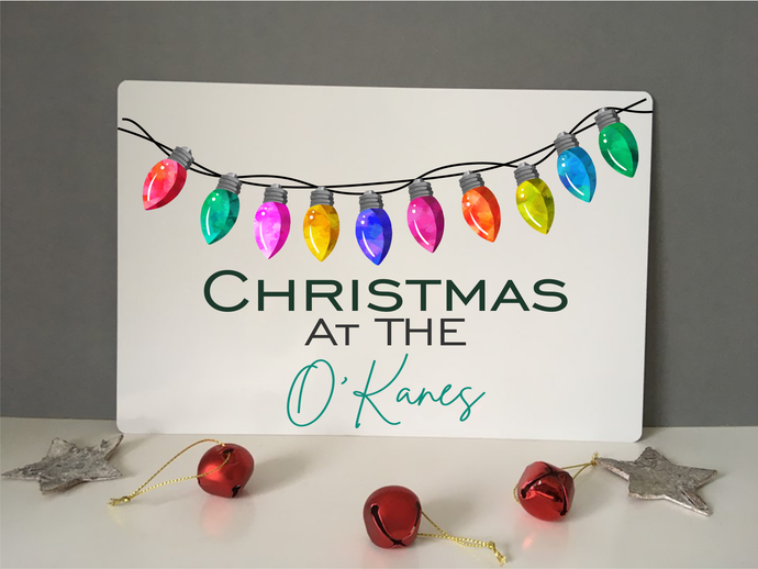 Personalised Christmas at the..... Sign Plaque- Christmas lights - Fred And Bo