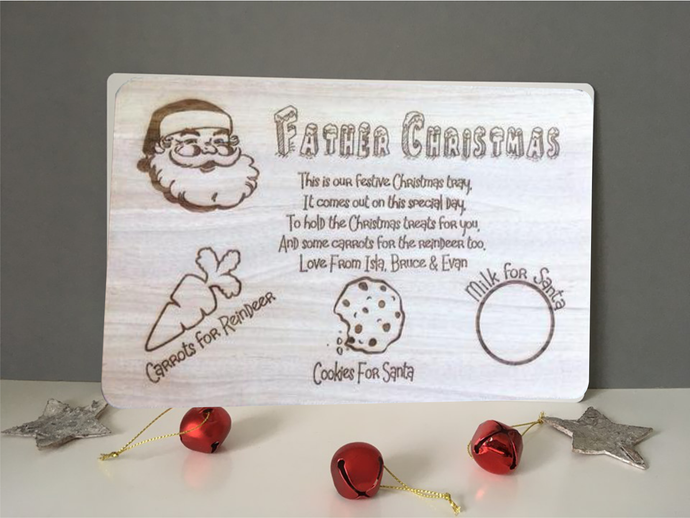 Father Christmas poem chopping board / tray / Platter Family - Fred And Bo