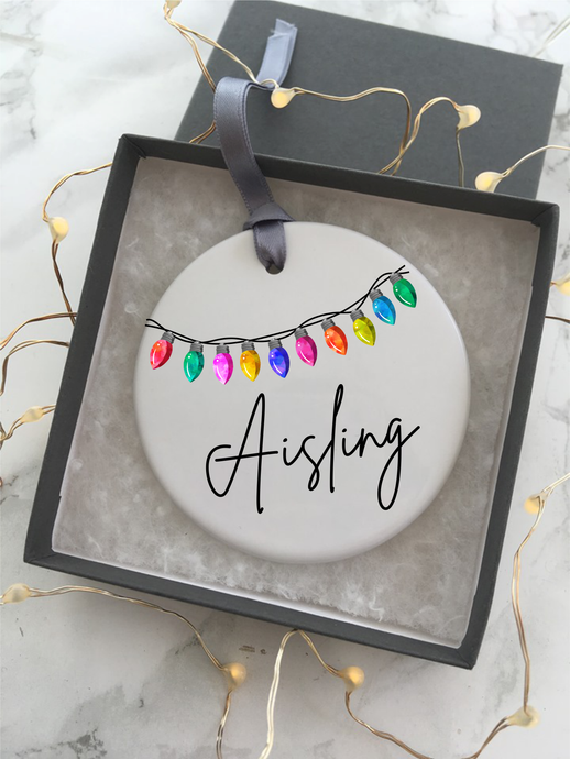 Christmas lights Personalised Ceramic Bauble Hanging Decoration - Fred And Bo