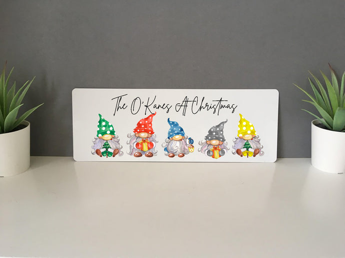 Christmas Gnome Family Personalised Sign