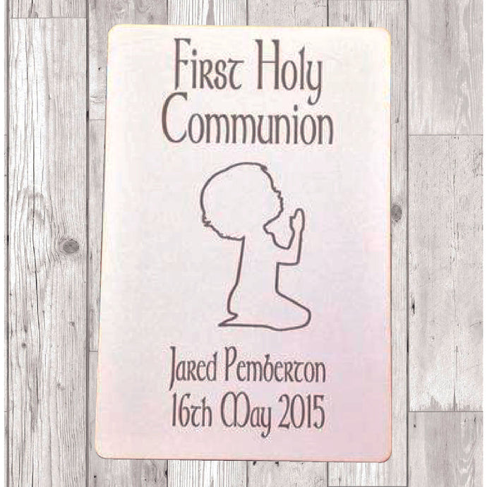 First Holy Communion praying boy laser engraved plaque personalised - Fred And Bo