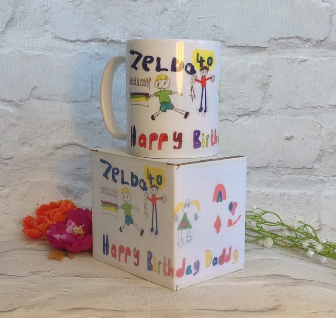 Personalised mug with your childs drawing- kids drawing on a mug- special gift - Fred And Bo