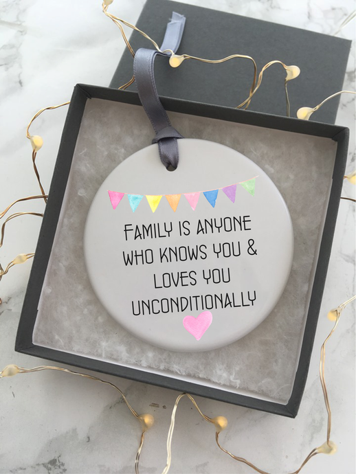 Family unconditional love quote - Ceramic Hanging Decoration - Fred And Bo
