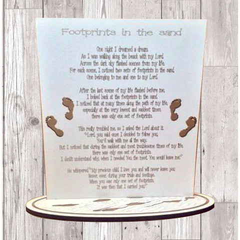Footprints in the sand laser engraved plaque - Fred And Bo
