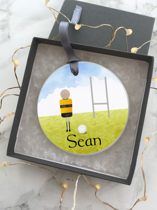 Gaelic Football Personalised Ceramic Bauble - Fred And Bo